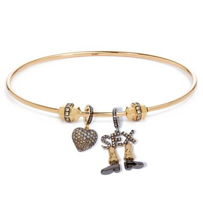 Mythology 18ct Gold Valentines Charm Bangle