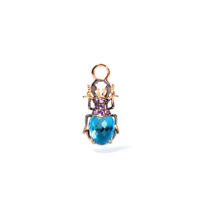 Mythology 18ct Rose Gold Topaz Beetle Single Earring Drop