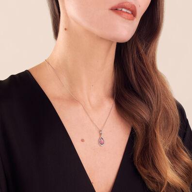 Unique 18ct White Gold Rhodolite Diamond Pendant