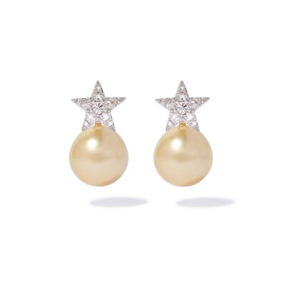 18ct White Gold Diamond South Sea Pearl Star Earrings