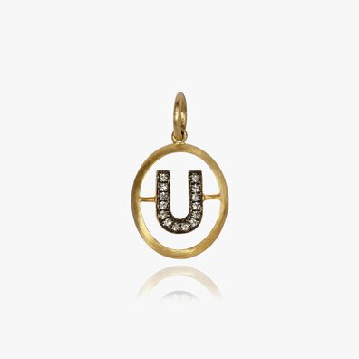 18ct Gold Diamond Initial U Pendant