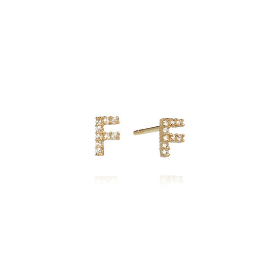 A pair of 18ct Gold Diamond Initial F Stud Earrings