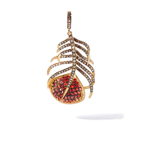 Mythology 18ct Gold Sapphire Peacock Feather Charm | Annoushka jewelley