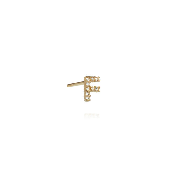 18ct Gold Diamond Initial F Single Stud Earring