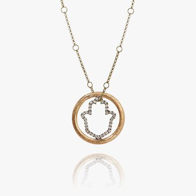Hoopla 18ct Gold Hand of Fatima Necklace