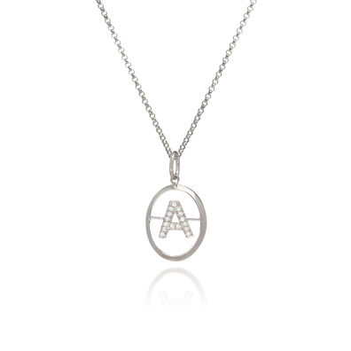 18ct White Gold Diamond Initial A Necklace