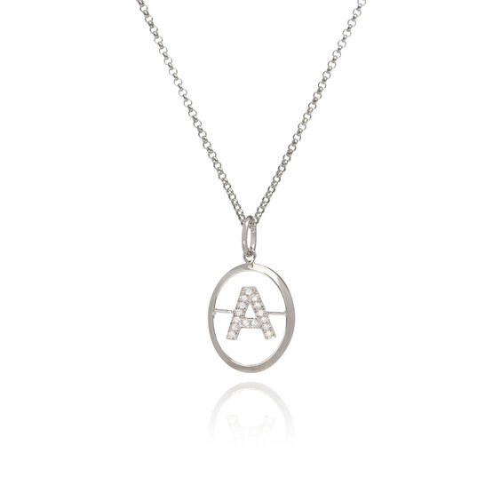 18ct White Gold Diamond Initial A Necklace | Annoushka jewelley