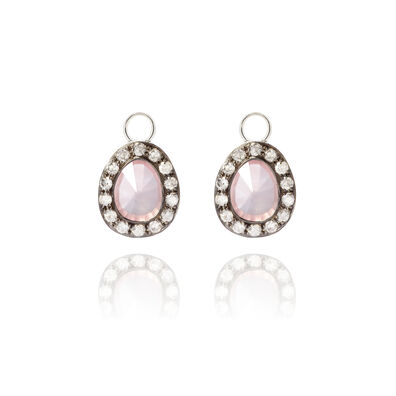 Dusty Diamonds 18ct White Gold Rose Quartz Earring Drops