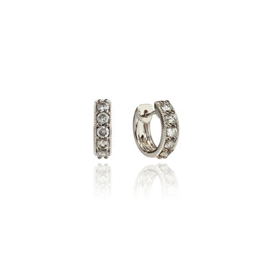Dusty Diamonds 18ct White Gold Diamond Hoop Earrings