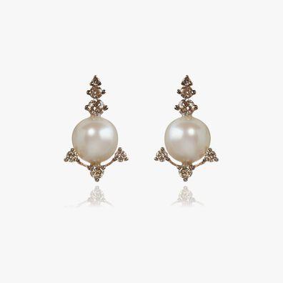 Diamonds & Pearls 18ct Rose Gold Studs