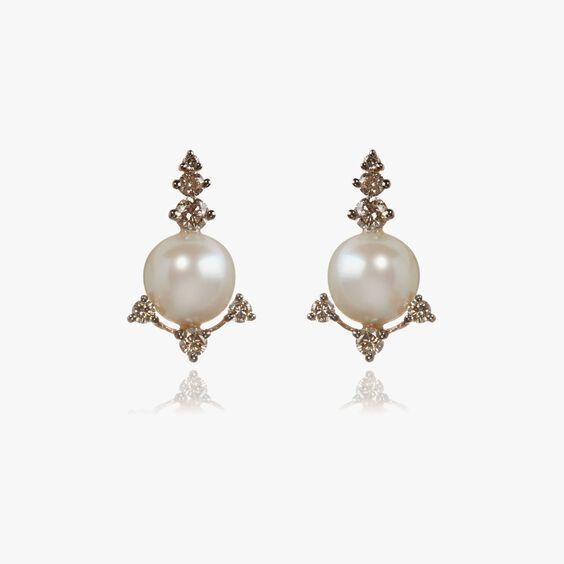 Diamonds & Pearls 18ct Rose Gold Studs | Annoushka jewelley
