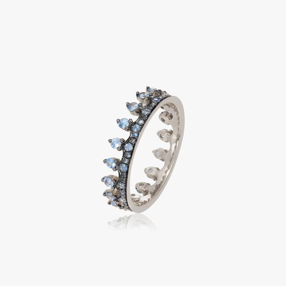 Crown 18ct White Gold Blue Sapphire Ring | Annoushka jewelley