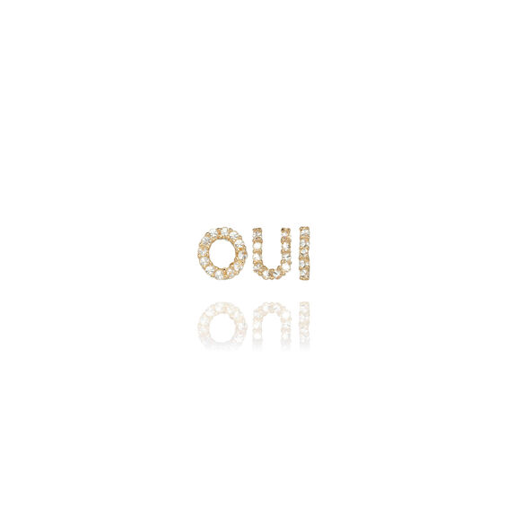 18ct Gold Diamond Initial 'Oui' Stud Earrings