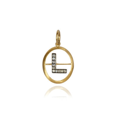 18ct Gold Diamond Initial L Pendant