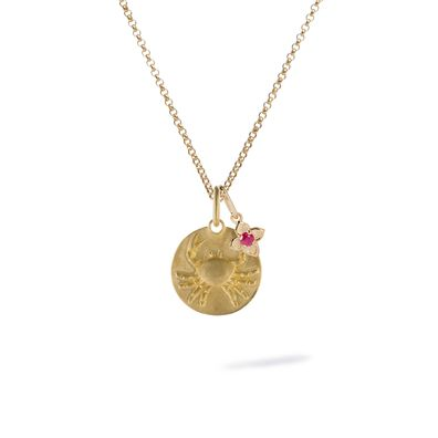 Gold Cancer & Ruby July Birthstone Necklace
