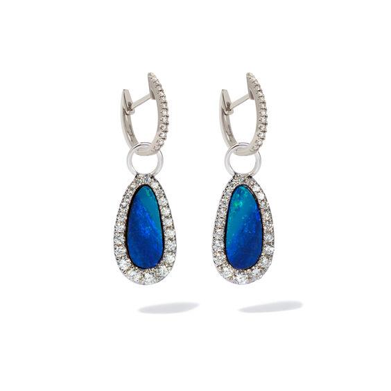 Unique 18ct White Gold Opal Diamond Earring Drops