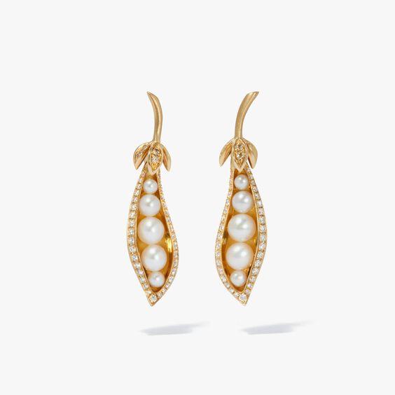 Mythology 18ct Gold Pearl Diamond Peapod Earrings
