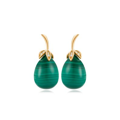 Unique 18ct Gold Malachite Diamond Drop Earrings