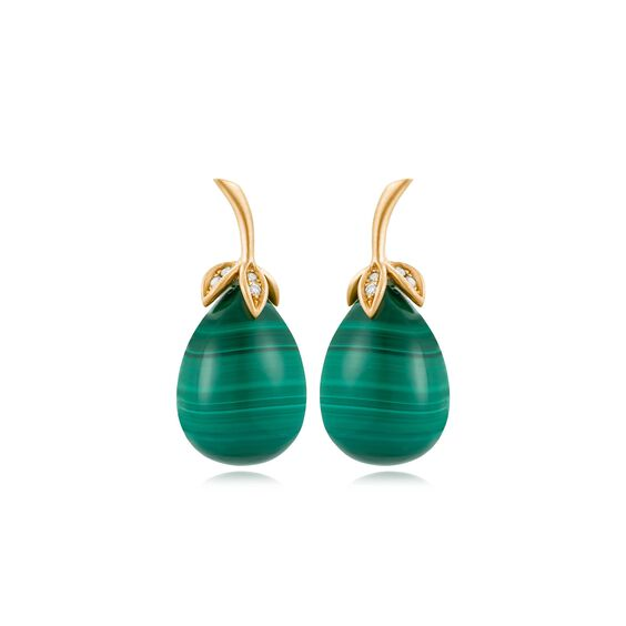 Unique 18ct Gold Malachite Diamond Drop Earrings | Annoushka jewelley