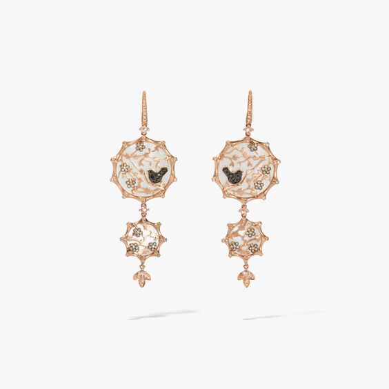 Dream Catcher 18ct Rose Gold Diamond Pearl Earrings