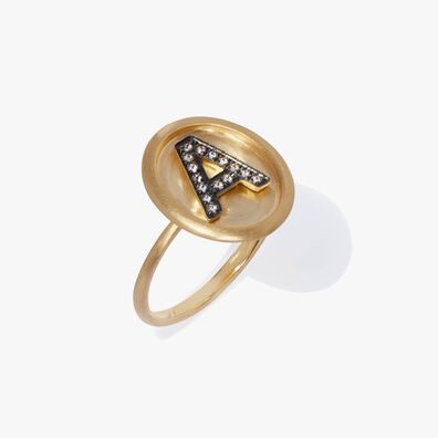 18ct Gold Diamond Initial A Ring