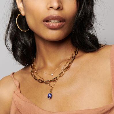 18ct Gold 18ct Gold Lapis Lazuli Tulip Necklace