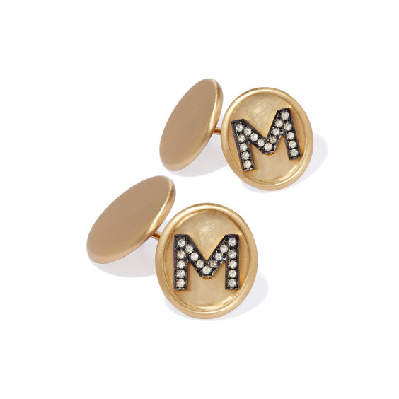 18ct Satin Gold Diamond Initial M Cufflinks | Annoushka jewelley