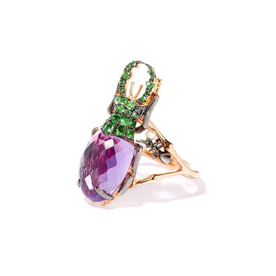 Mythology 18ct Rose Gold Amethyst Beetle Ring