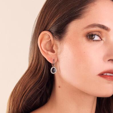 Dusty Diamonds 18ct White Gold Onyx Earrings