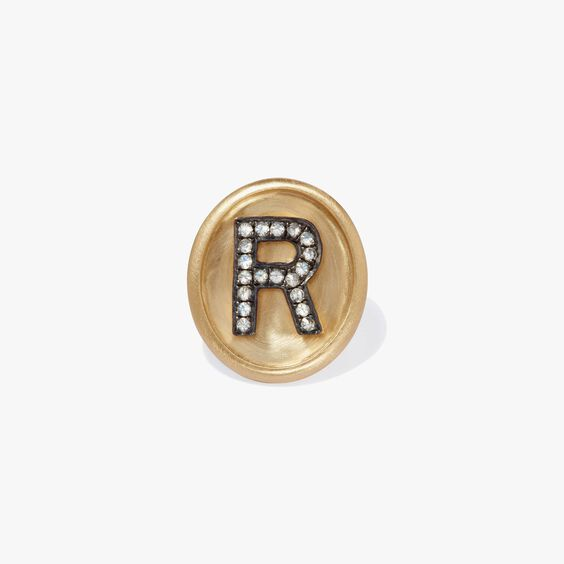 18ct Gold Diamond Initial R Face   Annoushka jewelley