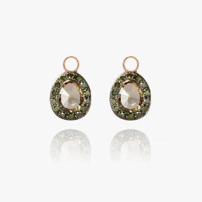 Dusty Diamonds 18ct Rose Gold Olive Quartz Earring Drops
