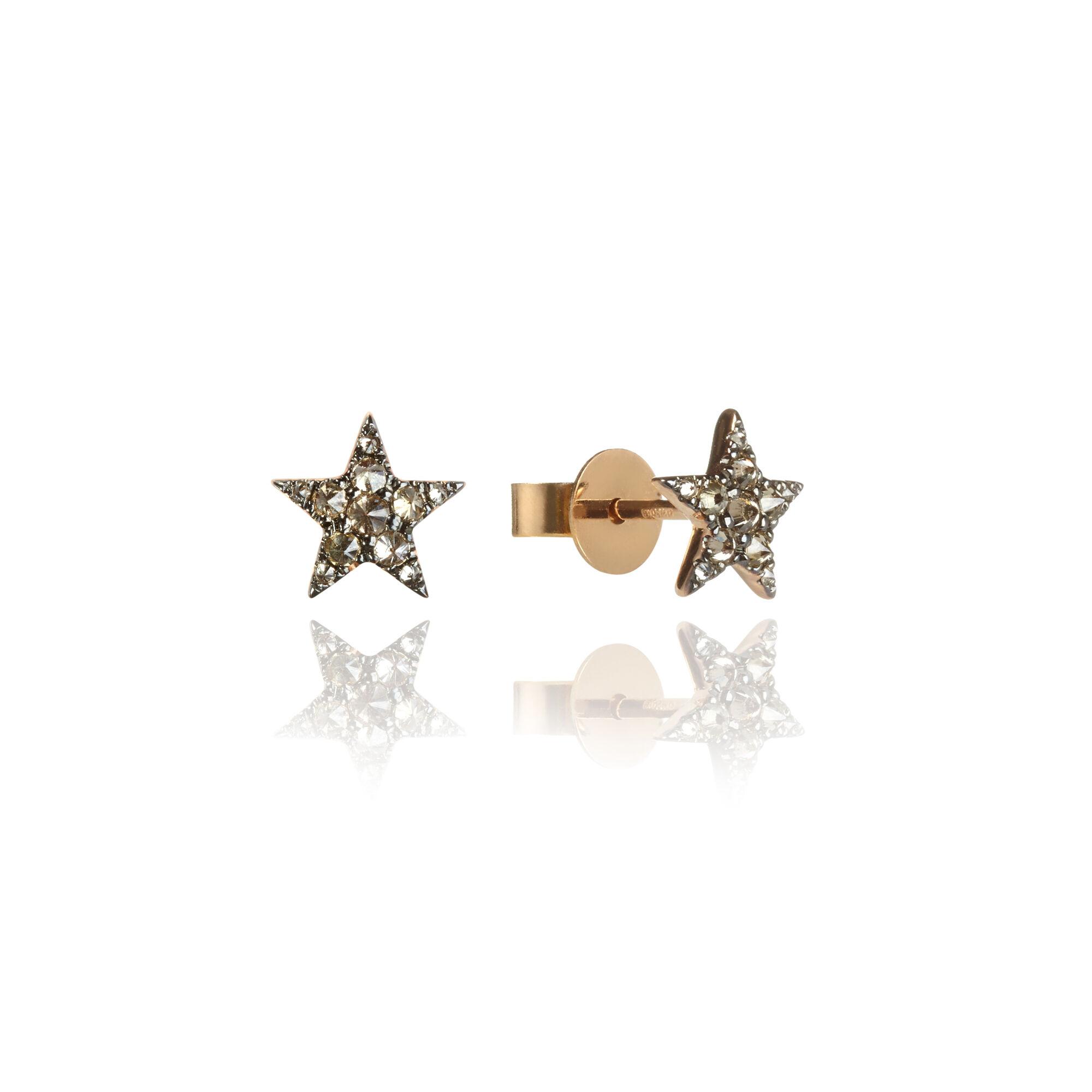 5d15b8cb99e35 Love Diamonds 18ct Rose Gold Diamond Star Studs