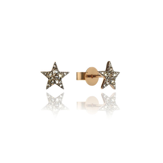 Love Diamonds 18ct Rose Gold Diamond Star Studs