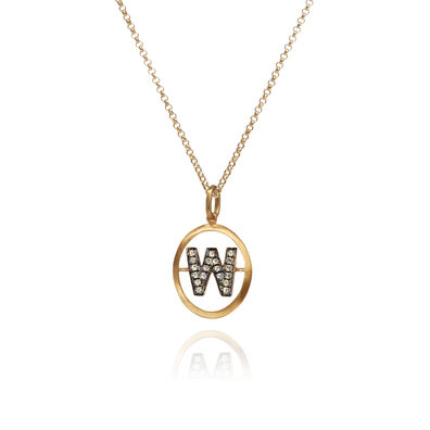 18ct Gold Diamond Initial W Necklace