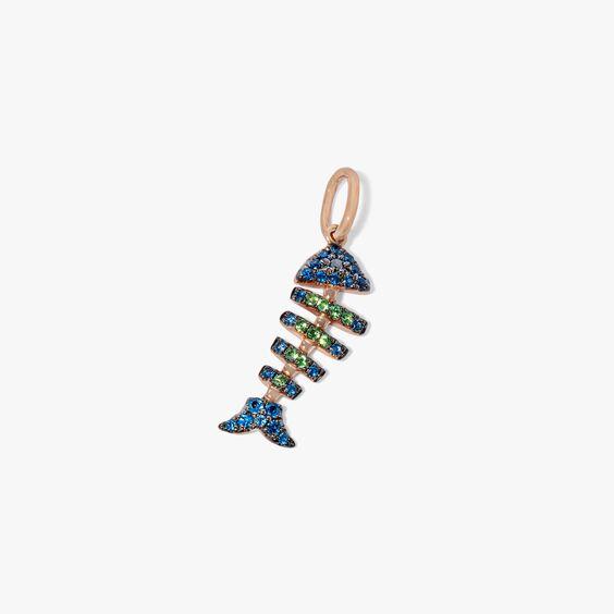 Mythology 18ct Rose Gold Sapphire Fish Bones Charm | Annoushka jewelley