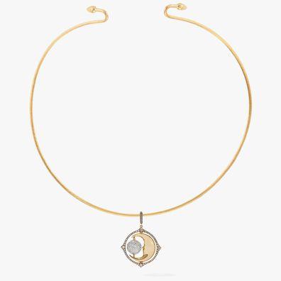Mythology 18ct Gold Diamond Spinning Moon Choker