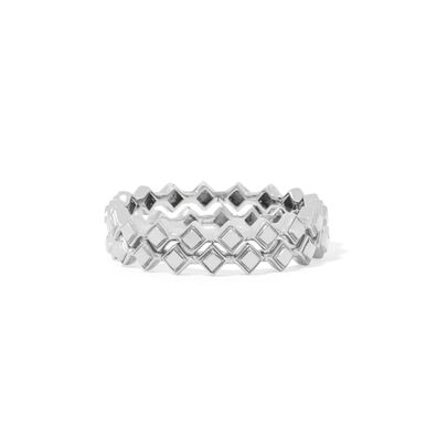 Stepping Stone 18ct White Gold Ring Stack
