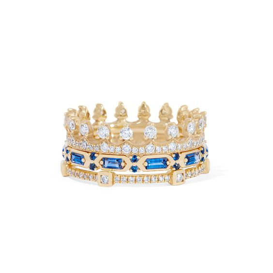 18ct Gold Blue Sapphire Crown Baguette Ring Stack | Annoushka jewelley