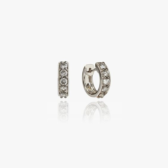 Dusty Diamonds 18ct White Gold Diamond Hoop Earrings | Annoushka jewelley