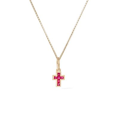 Tokens 14ct Gold Pink Sapphire Cross Necklace