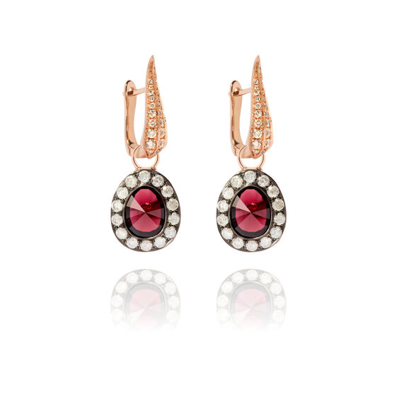 Dusty Diamonds 18ct Rose Gold Rhodolite Garnet Earrings | Annoushka jewelley