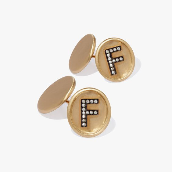 18ct Satin Gold Diamond Initial F Cufflinks | Annoushka jewelley