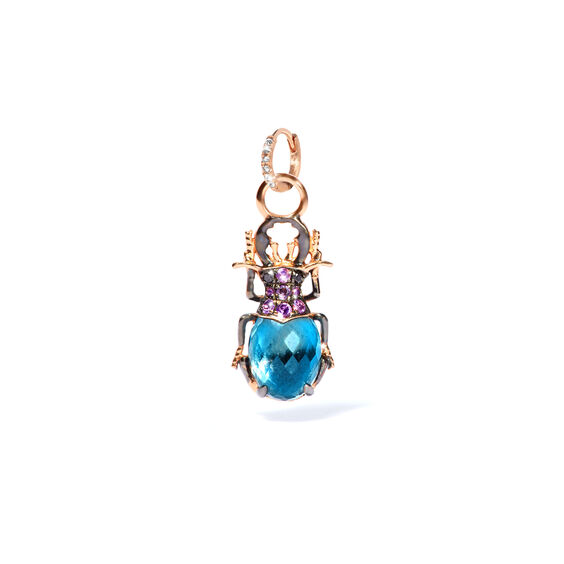 Mythology 18ct Rose Gold Topaz Beetle Single Earring Drop | Annoushka jewelley
