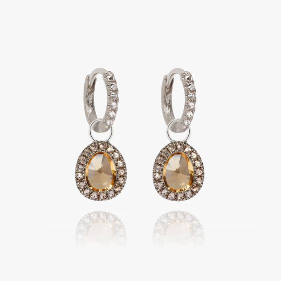 Dusty Diamonds 18ct White Gold Small Citrine Earrings