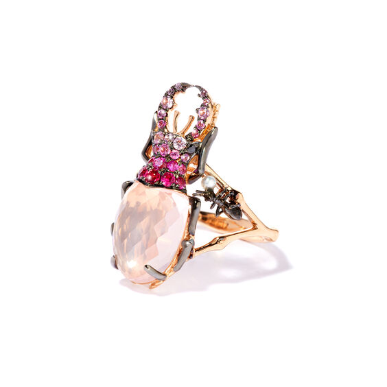 Mythology 18ct Rose Gold Rose Quartz Beetle Ring | Annoushka jewelley