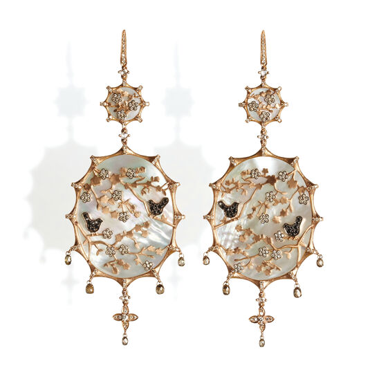 Dream Catcher 18ct Rose Gold 4.29 ct Diamond Earrings | Annoushka jewelley