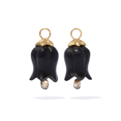 18ct Gold Ebony Diamond Tulip Earring Drops