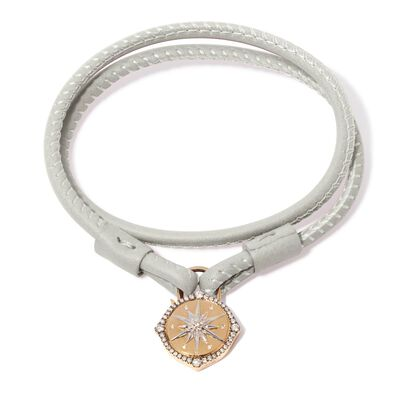 Lovelock 18ct Gold 41cms Cream Leather Star Charm Bracelet
