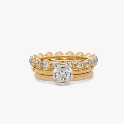 18ct Gold Marguerite 0.50ct Solitaire Ring Stack