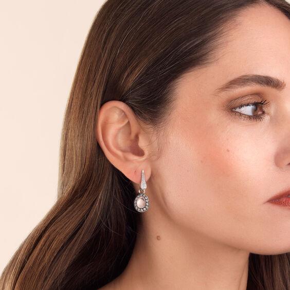 Dusty Diamonds 18ct White Gold Rose Quartz Earring Drops